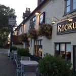 The pub adorned with hanging baskets