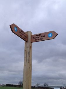 Bacton coast path sign