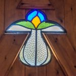 Stained glass detail in the door