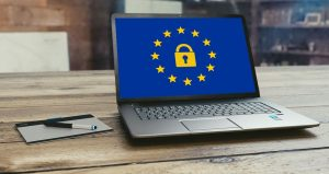 Picture of a laptop with padlock and EU stars